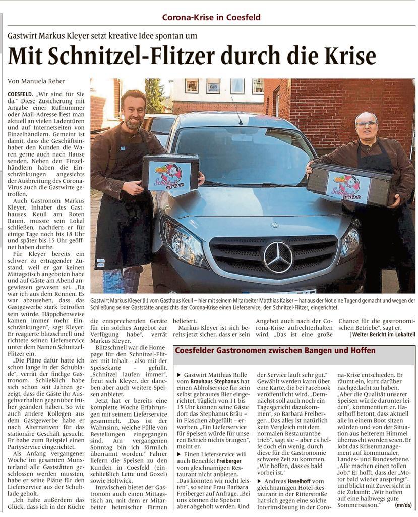 Schnitzel-Flitzer - Zeitungsartikel 27.03.2020