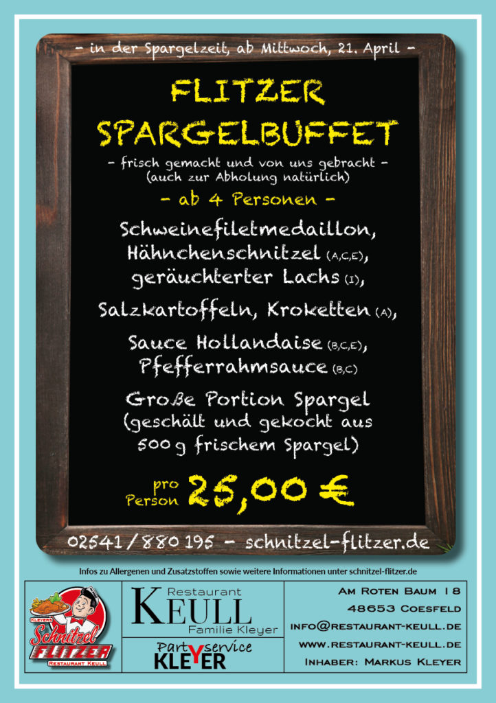 Spargelbuffet Schnitzel-Flitzer Keull Coesfeld