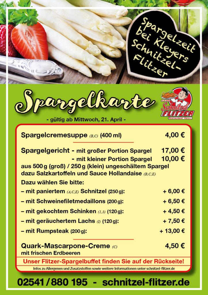 Spargelkarte Schnitzel-Flitzer Keull Coesfeld